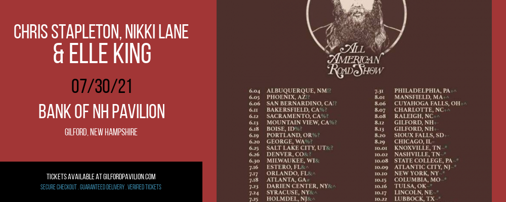 Chris Stapleton, Nikki Lane & Elle King at Bank of NH Pavilion