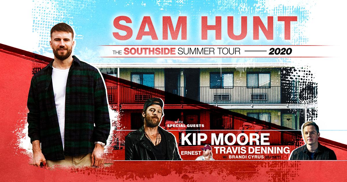 Sam Hunt, Kip Moore & Travis Denning at Bank of NH Pavilion
